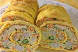 雞蛋餅的頂級做法,內含蔬菜和海鮮,營養豐富味道好